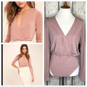 Lulus striking looks blush pink bodysuit NWT